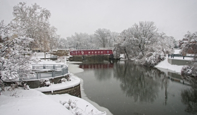 Winter Storm in Broad Ripple Monon Bridge